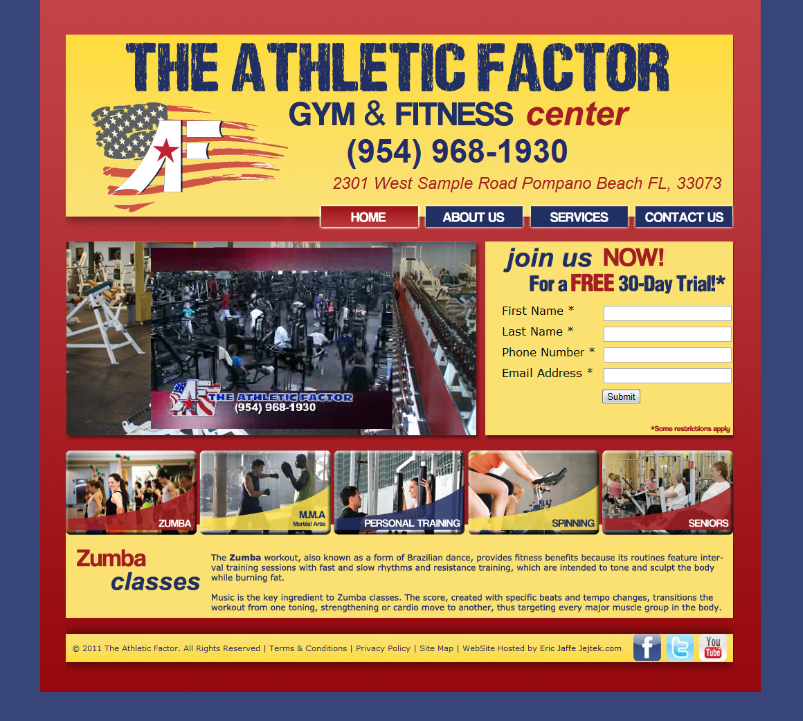 Website hosting for Athletic Factor Gym in pompano beach Florida